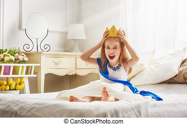 koningin, in, gouden kroon