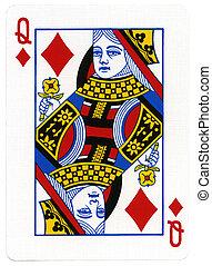 koningin, -, speelkaart, ruiten
