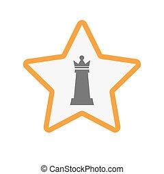 koningin, ster, vrijstaand, figuur, schaakspel
