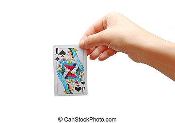koningin, van, spades., nieuw, speelkaart