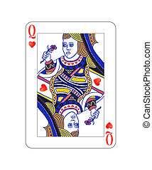 koningin, vrijstaand, hartjes, witte , speelkaart
