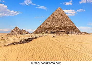 koninginnen, menkaure, piramide, egypte, zonnig, piramides, aanzicht, dag