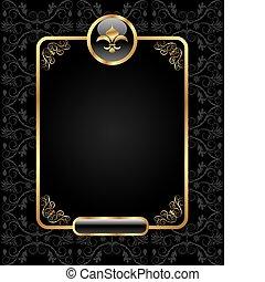 koninklijk, achtergrond, met, gouden, frame