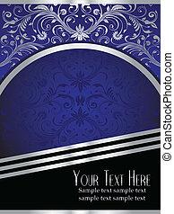 koninklijk blauw, achtergrond, met, sierlijk, zilveren blad