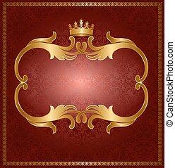 koninklijk, goud, frame