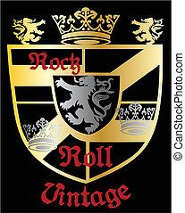 koninklijk, heraldisch, kam, schild, classieke