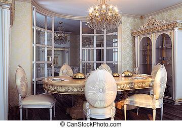 Gouden, dubbel, koninklijk, luxe, slaapkamer, interieur,... stock ...