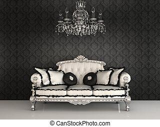 koninklijk, sofa, met, hoofdkussens, en, kroonluchter, in,...
