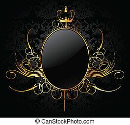 koninklijk, vector, achtergrond, met, gouden, frame