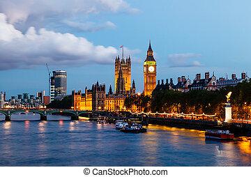 koninkrijk, brug, verenigd, ben, avond, groot, westminster, londen