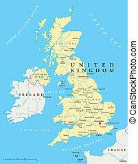 koninkrijk, kaart, verenigd, politiek