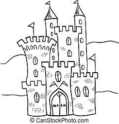 koninkrijk, kasteel, fairytale, stijl, spotprent