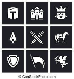 koninkrijk, set, spandoek, ridder, love., bescherming, icons., slag, armen, vector, prinsesje, kasteel, paarde
