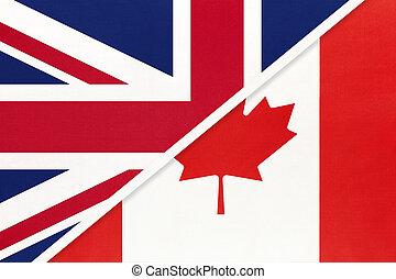 koninkrijk, twee, vs, amerikaan, canada, nationale, europeaan, textile., tussen, vlag, countries., verhouding, verenigd