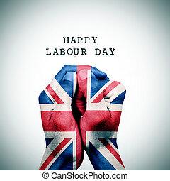koninkrijk, verenigd, tekst, vlag, arbeid, dag, vrolijke