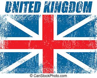 koninkrijk, vlag, verenigd, grunge