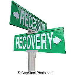 konjunkturnedgang, recovery, gade tegn, økonomi, tilvækst