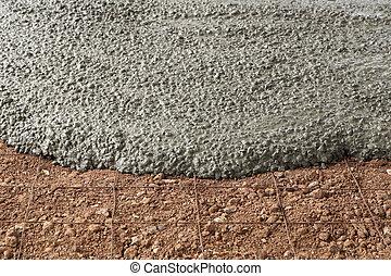 konkret, cement, våt