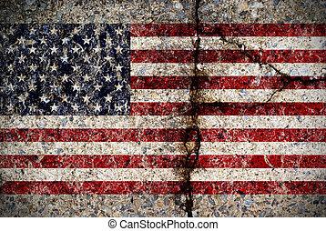 konkret, flagga, amerikan, yta, slitet