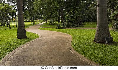 konkret, gå, väg, i parken