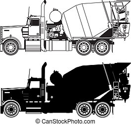 konkret, silhouettes, lastbil, blandare