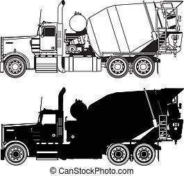 konkret, silhuetter, lastbil, blander