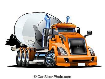 konkret, tecknad film, blandare, lastbil