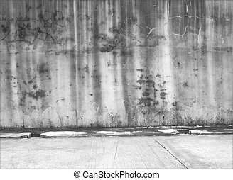 konkret, väggar, gammal