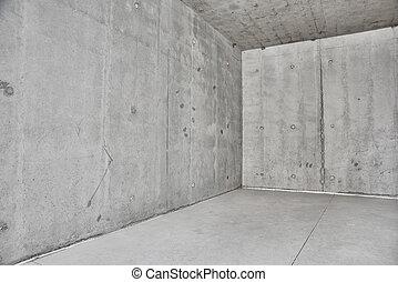 konkret, väggar, rum