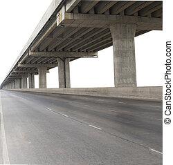 konkretna budowa, od, cement, most, odizolowany, białe tło,...