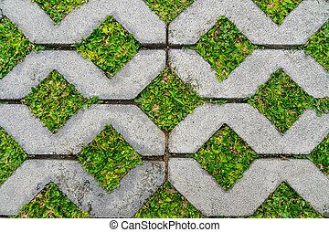 konkretna cegła, trawa, struktura