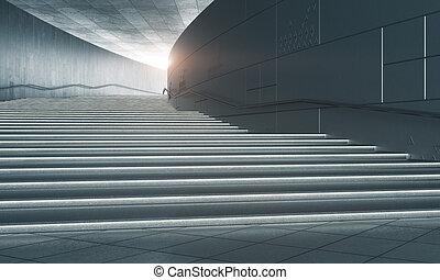 konkretny, schody, światło słoneczne