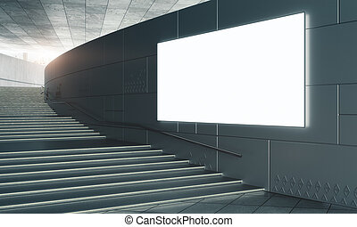 konkretny, schody, opróżniać, afisz