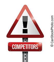 konkurenci, ostrzeżenie, droga, ilustracja, znak