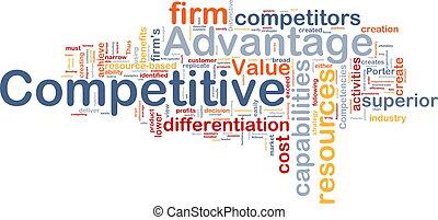 konkurrenskraftigt, fördel, bakgrund, begrepp