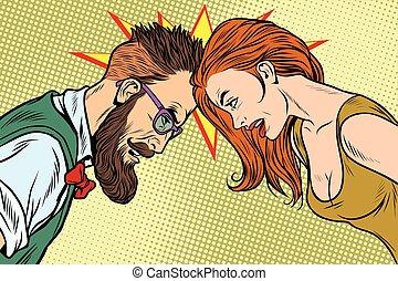 konkurrenz, mann- frau, vs, gegenüberstellung