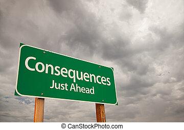 konsekvenser, grön, vägmärke, över, stormmoln