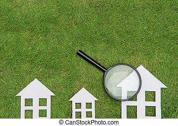konservering, hus, utveckling, byggnad, granskning, förstoringsapparat, miljöbetingad, grön