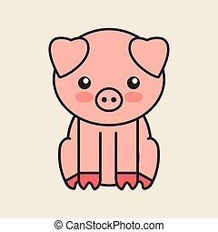 konserwator, sprytny, świnia, odizolowany, ikona