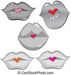 konserwator, usteczka, komplet, połyskujący, kiss.