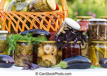 konserwowanie, dom, warzywa, w puszkach, outdoors
