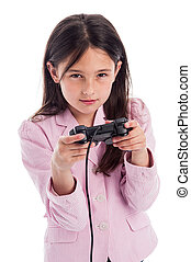 konsole, controller., yound, spiele, ernstes mädchen