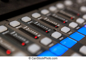 konsole, equipment., aufzeichnungsstudio, mischung, professionell, ton