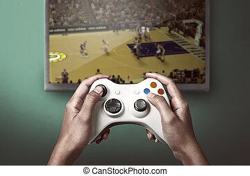 konsole, spiel, hand, controller, besitz, spielende