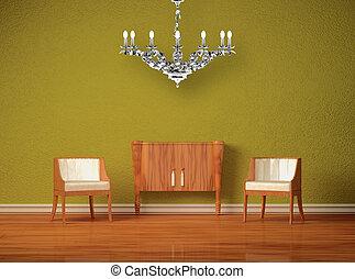 konsole, stühle, zwei, luxuriös, hölzern, grün, inneneinrichtung