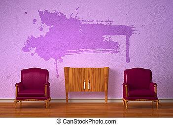 konsole, stühle, zwei, luxuriös, lila, inneneinrichtung, hölzern