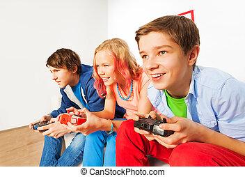 konsole, steuerknüppel, drei, spiel, friends, spielende