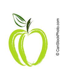 konst, äpple, borsta