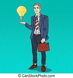 konst, affär, lätt, idé, pop, skapande, innovation., vektor, illustration, affärsman, bulb.