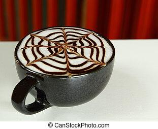 konst, bakgrund, kopp, het röd, latte, årgång